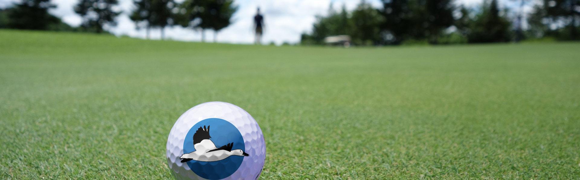 Balle de golf avec logo du festival de l'oie des neiges